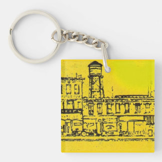 Yellowville houses and homes and water tower Double-Sided square acrylic keychain