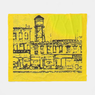 Yellowville houses and homes and water tower fleece blanket