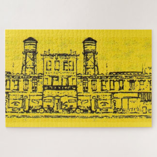 Yellowville houses and homes and water tower jigsaw puzzle
