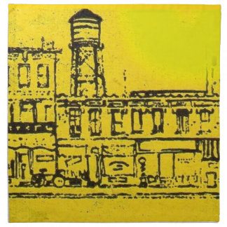 Yellowville houses and homes and water tower napkin