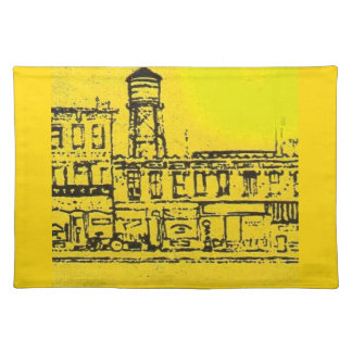 Yellowville houses and homes and water tower placemat