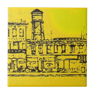 Yellowville houses and homes and water tower tile