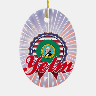 Yelm, WA Double-Sided Oval Ceramic Christmas Ornament