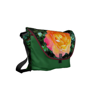 Yeloow Pink Fancy Rose Small Messenger Bag