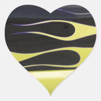 yelow hotrod flames on black heart sticker
