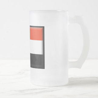 Yemen Flag Frosted Glass Beer Mug