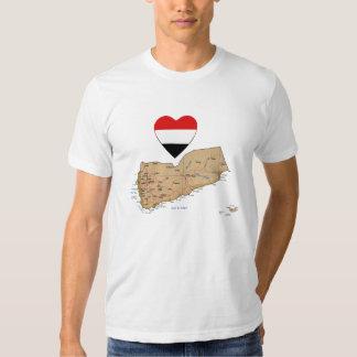 Yemen Flag Heart and Map T-Shirt