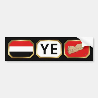 Yemen Flag Map Code Bumper Sticker Car Bumper Sticker
