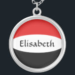 """Yemen Flag   Name Necklace<br><div class=""""desc"""">The design for this attractive pendant features a name overlying the Yemeni flag,  which has been neatly morphed to fit the round shape. The featured name can be changed to any name or text of your choice,  creating a personalized gift for someone who loves Yemen. &#169; 2011 FlagAndMap</div>"""