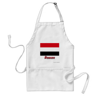 Yemen Flag with name in Russian Adult Apron