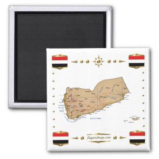 Yemen Map + Flags Magnet