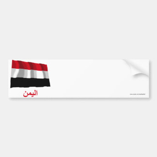 Yemen Waving Flag with Name in Arabic Bumper Sticker