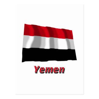 Yemen Waving Flag with Name Postcard