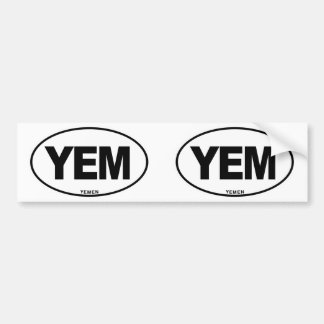 Yemen YEM Oval ID Identification Code Initials Bumper Sticker