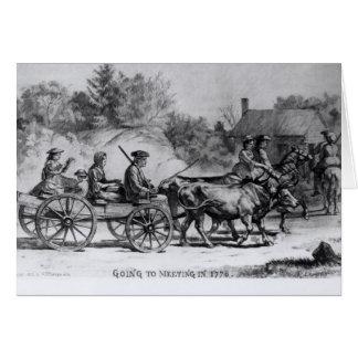 Yendo al encuentro en 1776, 1876 tarjeta de felicitación