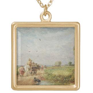 Yendo al henar, 1853 (aceite en cartón para encuad colgante cuadrado