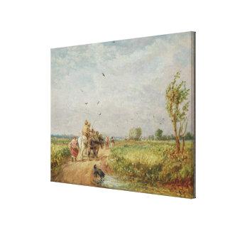 Yendo al henar, 1853 (aceite en cartón para encuad impresión en tela