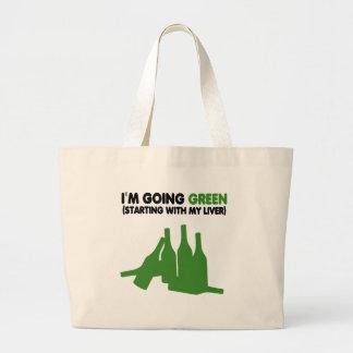 Yendo cerveza verde, divertida bolsas lienzo