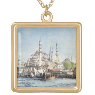 Yeni Jami and St. Sophia from the Golden Horn, pla Gold Plated Necklace