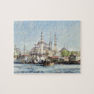 Yeni Jami and St. Sophia from the Golden Horn, pla Jigsaw Puzzle