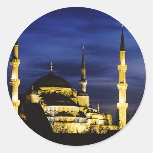 Yeni Valide Mosque at Night Classic Round Sticker