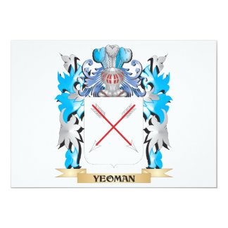 Yeoman Coat of Arms - Family Crest 5x7 Paper Invitation Card