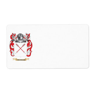 Yeoman Family Crest Coat of Arms Custom Shipping Labels