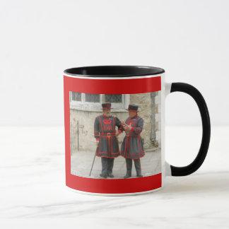 Yeoman warders, or beefeaters on duty mug