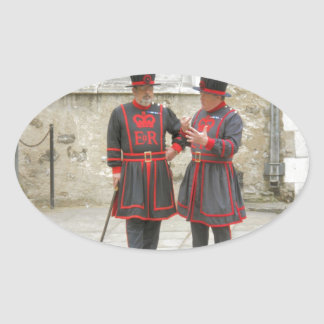 Yeoman warders, or beefeaters on duty oval sticker