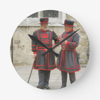 Yeoman warders, or beefeaters on duty round clock