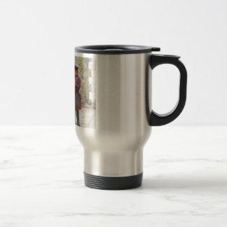 Yeoman warders, or beefeaters on duty travel mug