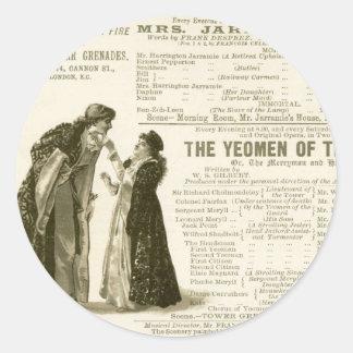 Yeomen of the Guard Cast Classic Round Sticker
