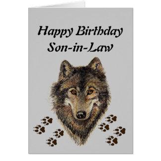 Yerno del cumpleaños, lobo, lobos, animal, natural tarjeta de felicitación
