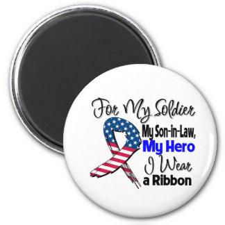 Yerno - mi soldado, mi cinta patriótica del héroe imán redondo 5 cm