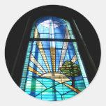 Yerranderie Church Stain Glass Classic Round Sticker