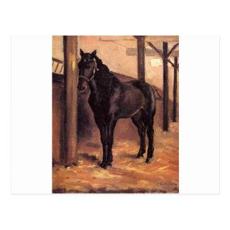 Yerres, caballo de bahía oscuro en el establo de tarjetas postales
