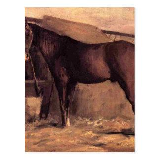 Yerres, caballo de bahía rojizo en el establo de tarjetas postales