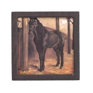 Yerres, Dark Bay Horse in the Stable by Gustave Ca Gift Box