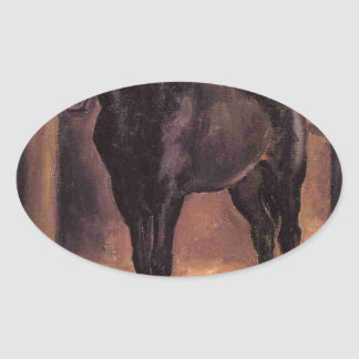Yerres, Dark Bay Horse in the Stable by Gustave Ca Oval Sticker