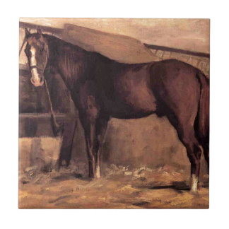 Yerres, Reddish Bay Horse in the Stable by Gustave Tile