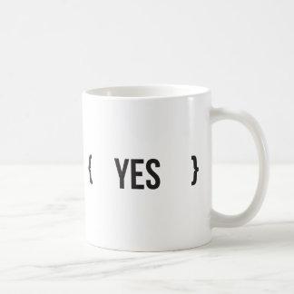 Yes - Bracketed - Black and White Coffee Mug