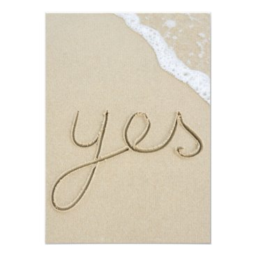 Yes carved word on the beach sand card