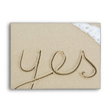 Yes carved word on the beach sand envelope