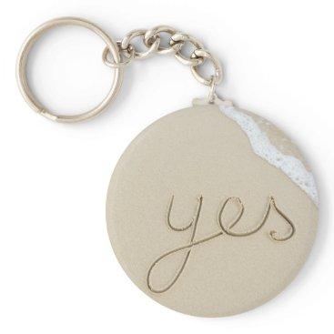 Beach Themed Yes carved word on the beach sand keychain