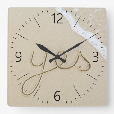 Yes carved word on the beach sand square wall clock