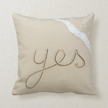 Beach Themed Yes carved word on the beach sand throw pillow
