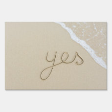 Yes carved word on the beach sand yard sign