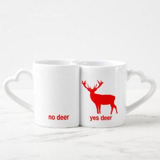Yes Deer No Deer lovers mugs
