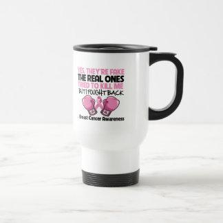 Yes Fake I Fought Back Breast Cancer Awareness 15 Oz Stainless Steel Travel Mug