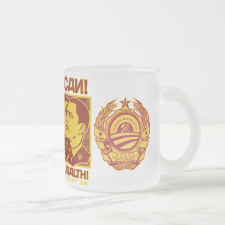 Yes He Can! Comrade Obama Spoof Frosted Glass Coffee Mug